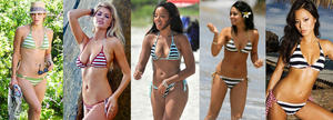 Best striped bikini bodies - Katharine McPhee, Kate Upton, Angela Simmons, Vanessa Hudgens and Jamie Chung