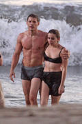 Mae Whitman - in her bra filming Parenthood at a beach in LA 10/16/12